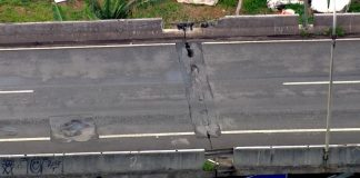 Rachaduras causaram interdição de viaduto. (Foto: Reprodução/Globo)